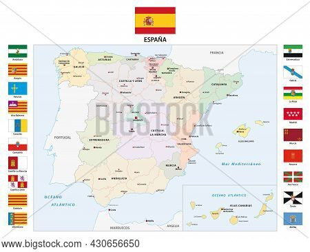 Vector Map Of The Autonomous Regions Of Spain With Flag