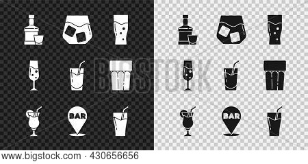 Set Whiskey Bottle And Glass, Glass Of Whiskey, Beer, Cocktail, Alcohol Bar Location, Juice, Champag