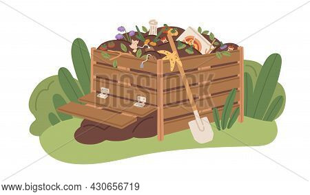 Compost Box Full Of Organic Bio Waste. Pile Of Natural Fertilizer For Agriculture. Decomposition And