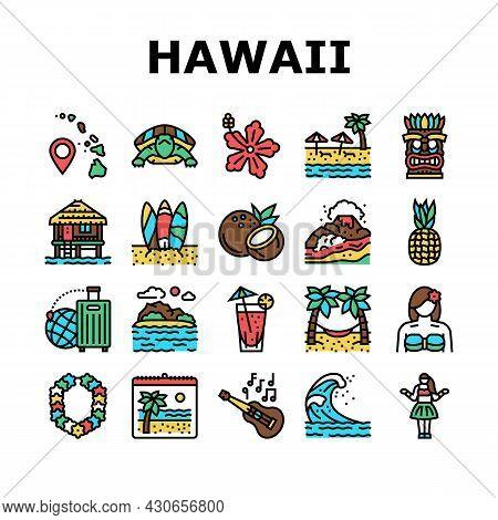Hawaii Island Vacation Resort Icons Set Vector. Hawaiian Girl Dancing Dance And Drinking Tropical Co