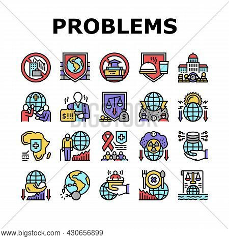 Social Public Problems Worldwide Icons Set Vector. Children And Ageing Human Social Problems, Democr