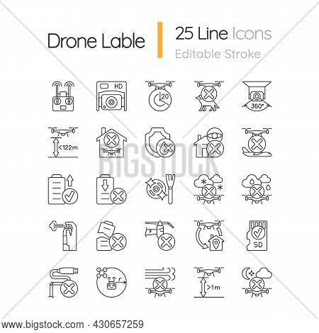 Drone Usage Linear Manual Label Icons Set. Drone Flight Restriction. Customizable Thin Line Contour