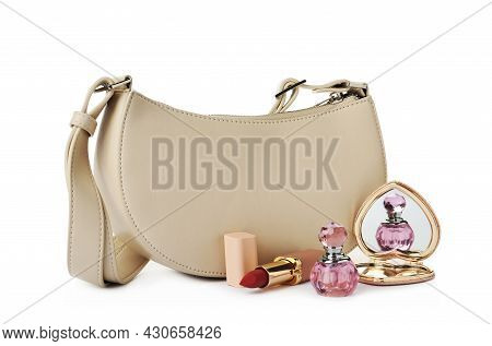 Stylish Baguette Bag With Perfume, Pocket Mirror And Lipstick On White Background