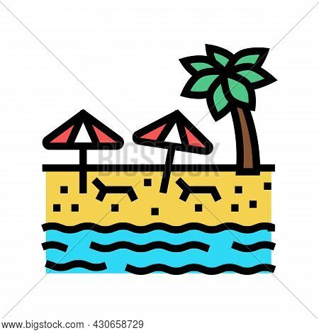 Beach Sandy Resort Color Icon Vector. Beach Sandy Resort Sign. Isolated Symbol Illustration