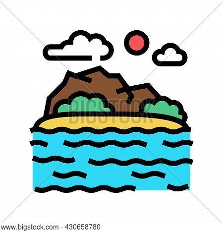 Sea Coast Hawaii Color Icon Vector. Sea Coast Hawaii Sign. Isolated Symbol Illustration