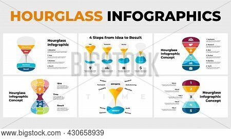 Vector Hourglass Infographics Pack. Presentation Slide Template. Time Concept From Education And Ide