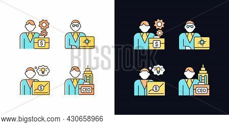 Senior Executive Roles Light And Dark Theme Rgb Color Icons Set. Ceo. Main Company Position. Isolate