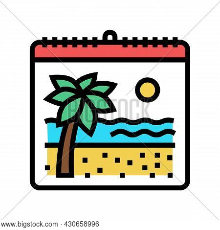 Vacation Calendar Color Icon Vector. Vacation Calendar Sign. Isolated Symbol Illustration