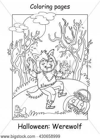 Coloring Halloween Funny Boy In Werewolf Costume