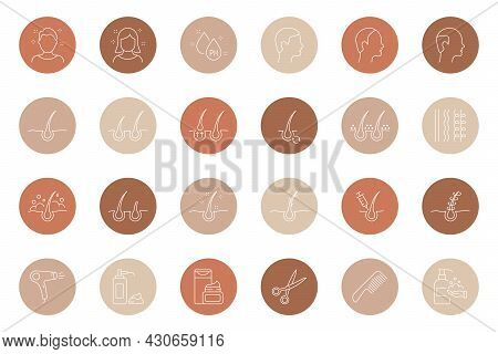 Highlights Line Icon Set. Stories Covers Linear Icons. Highlights For Beauty Bloggers, Barbershop Or