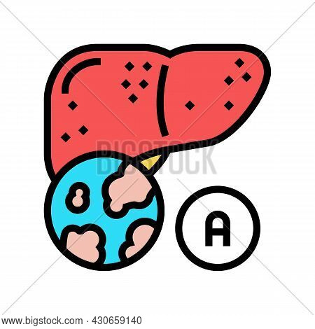 Type A Hepatitis Color Icon Vector. Type A Hepatitis Sign. Isolated Symbol Illustration