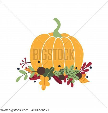 Cute Autumn Composition Of Ripe Yellow Pumpkin, Fallen Leaves, Branches, Berries. Cartoon Flat Icon