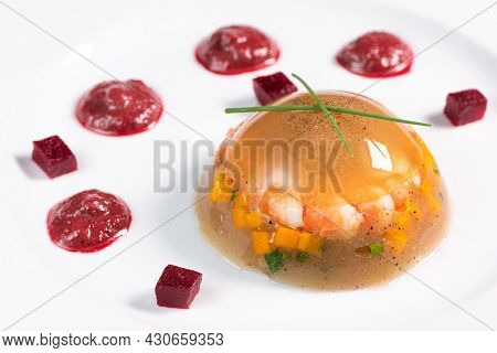 Recipe, Jelly Made From A Broth Of Prawns And Peppery Beetroot. High Quality Photo