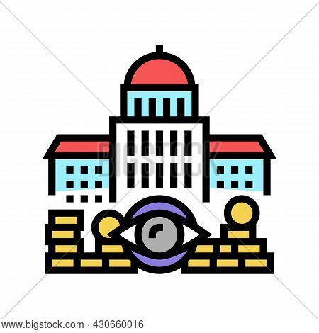 Government Accountability And Transparency And Corruption Social Problem Color Icon Vector. Governme