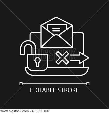 No Transmission Via Email White Linear Icon For Dark Theme. Unencrypted Email. Security Breach. Thin