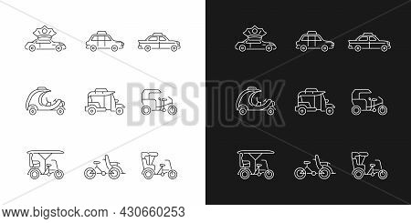 Taxicab Types Linear Icons Set For Dark And Light Mode. Personal Driver. London Cab. Retro Car. Rick