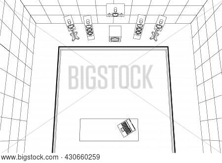 Contour Of A Recording Room With Equipment From Black Lines Isolated On A White Background. Sound Sp