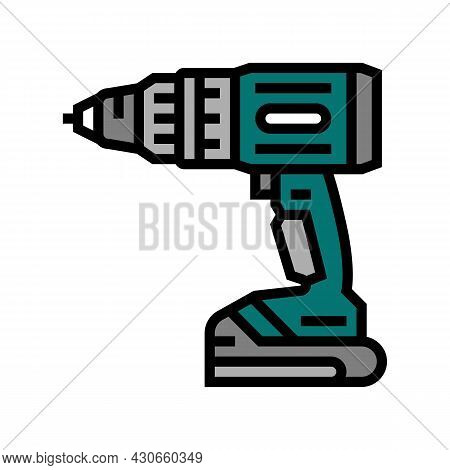 Drill Device Color Icon Vector. Drill Device Sign. Isolated Symbol Illustration