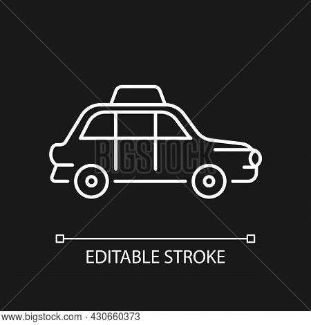 London Cab White Linear Icon For Dark Theme. Hackney Carriage. Public Transportation. Black Cab. Thi