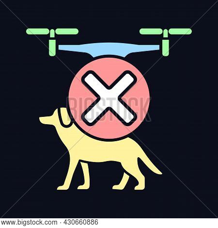 Dont Fly Above Animals Rgb Color Manual Label Icon For Dark Theme. Isolated Vector Illustration On N