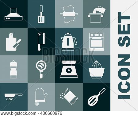 Set Kitchen Whisk, Citrus Fruit Juicer, Oven, Rolling Pin On Dough, Meat Chopper, Cutting Board And