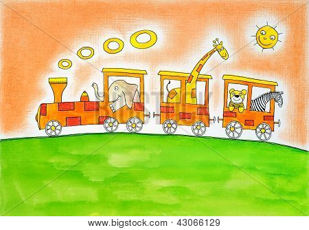 Animals on trip child's drawing watercolor painting on canvas paper poster
