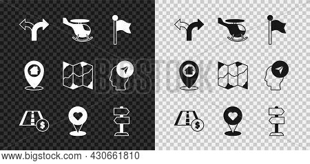 Set Road Traffic Sign, Helicopter, Location Marker, Toll Road, With Heart, House And Folded Map Icon