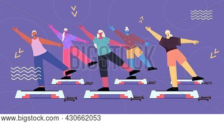 Senior People Group Doing Squats On Step Platform Aged Men Women Training In Gym Aerobic Workout Hea