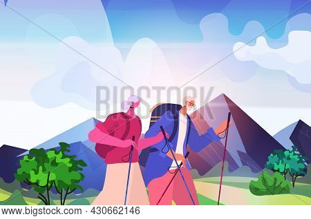 Senior Man Woman Hikers Traveling Together With Backpacks Active Old Age Physical Activities Concept
