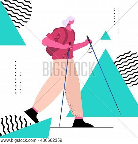 Senior Woman Hiker Traveling With Backpack Active Old Age Physical Activities Concept Full Length