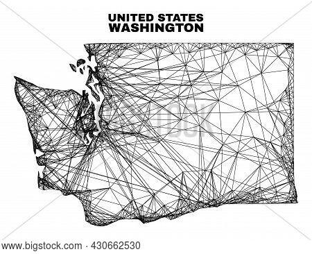Net Irregular Mesh Washington State Map. Abstract Lines Form Washington State Map. Wire Carcass Flat