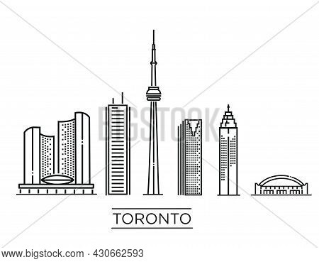 Toronto Detailed Monuments Silhouette. Vector Flat Illustration