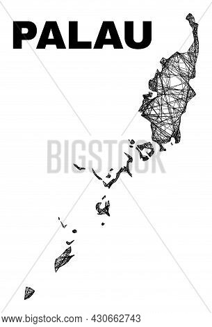 Carcass Irregular Mesh Palau Map. Abstract Lines Are Combined Into Palau Map. Wire Carcass Flat Net