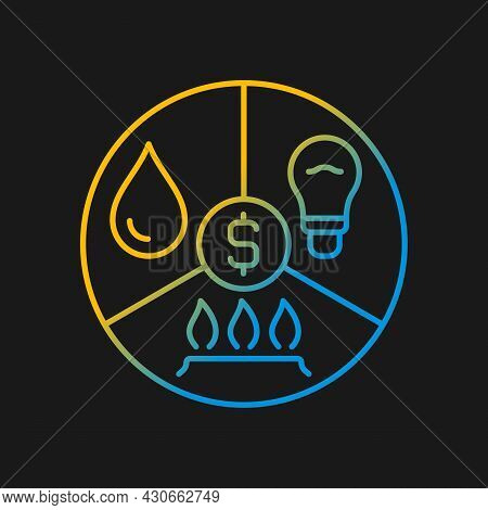 Paying Bills Gradient Vector Icon For Dark Theme. Utility Services Cost. Payment For Household Expen