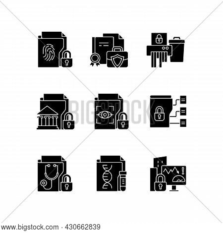 Confidential Information Types Black Glyph Icons Set On White Space. Biometric Data. Trade Secrets.