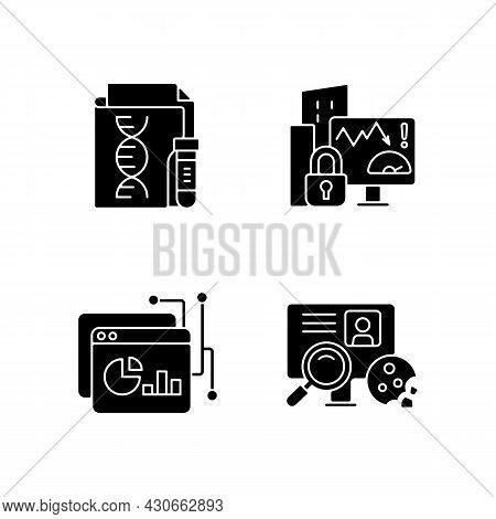 Sensitive Data Types Black Glyph Icons Set On White Space. Genetic Information. Company Risk Scoring