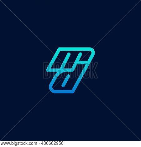 Letter D Logo, Light Blue And Dark Blue On A Dark Blue Background. Modern Line Logo Design Concept T