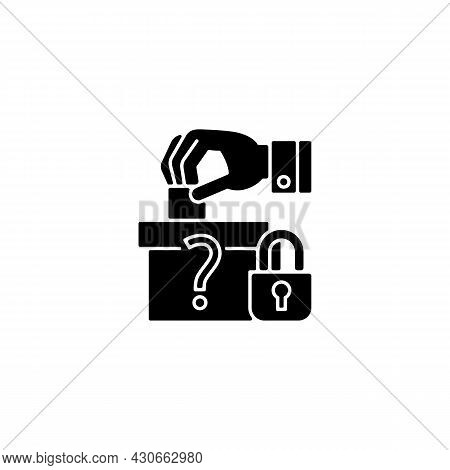 Protect Political Affiliation Black Glyph Icon. Electoral Process Safeguarding. Prohibition From Pol