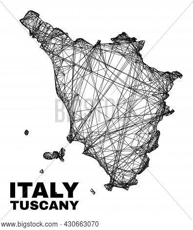 Wire Frame Irregular Mesh Tuscany Region Map. Abstract Lines Form Tuscany Region Map. Wire Frame Fla
