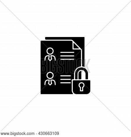 Employee Data Protection Black Glyph Icon. Safeguarding Personal Data In Workplace. Managing Personn