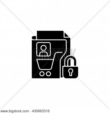 Consumer Data Privacy Black Glyph Icon. Safeguarding Buyers. Sensitive Personal Info. Customer Prote