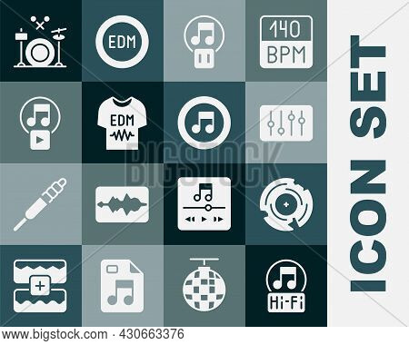 Set Music Note, Tone, Vinyl Disk, Sound Mixer Controller, Pause Button, T-shirt, Play Square, Drums