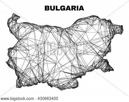Wire Frame Irregular Mesh Bulgaria Map. Abstract Lines Are Combined Into Bulgaria Map. Wire Frame 2d