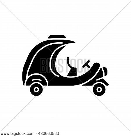 Coco Taxi Black Glyph Icon. Rickshaw-type Vehicle. Back Seat For Two People. Transporting Tourists.