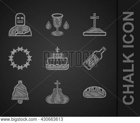 Set Ark Of Noah, Church Tower, Bread Loaf, Holy Water Bottle, Bell, Crown Thorns, Grave With Cross A
