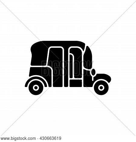 Auto Rickshaw Black Glyph Icon. Three-wheeler Taxi. Passenger Car Equivalent. Urban Transport. Thail