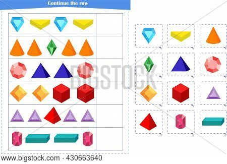 Logic Game For Children. Continue With A Series Of Elements. Development Of Attention, Memory, Think