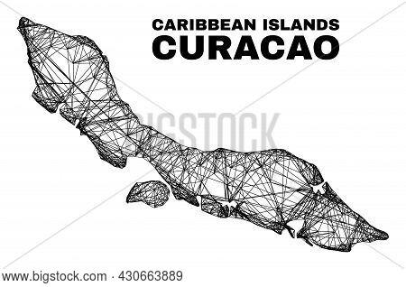 Net Irregular Mesh Curacao Island Map. Abstract Lines Form Curacao Island Map. Wire Frame 2d Net In