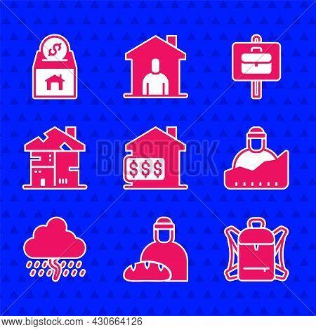 Set House With Dollar, Feeding The Homeless, Hiking Backpack, Growth Of, Cloud Rain, Homeless Cardbo