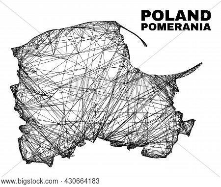 Network Irregular Mesh Pomeranian Voivodeship Map. Abstract Lines Are Combined Into Pomeranian Voivo